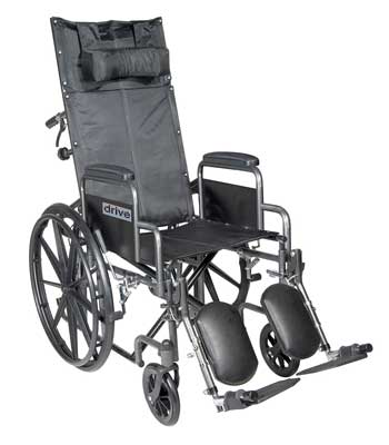 2. The Silver Sport 18 inches Full Reclining Wheelchair by Drive Medical