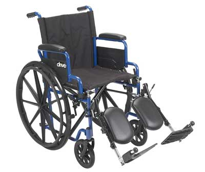 4. Drive Medical Blue Streak Wheelchair with Flip Back Desk Arms, Elevating Leg Rests