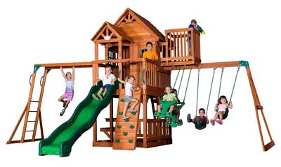 1. Skyfort Wood Swing Playset by Backyard Discovery