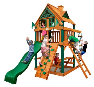 8. Chateau Treehouse Tower Swing Set by Gorilla Playsets