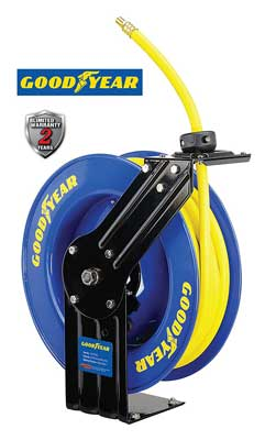 10. L815153G Steel Retractable Air Compressor, Water Hose Reel by Goodyear