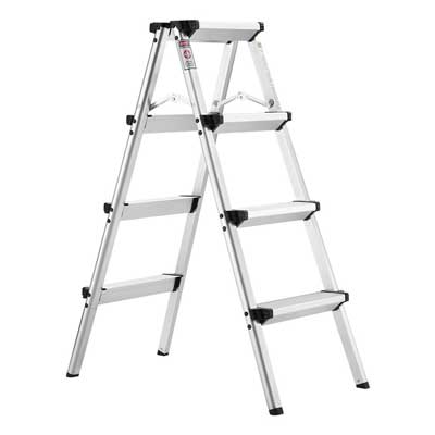 5. Folding 4 Step Ladder, Aluminum Double Sided Step Stool with 330 lbs Capacity by Finether