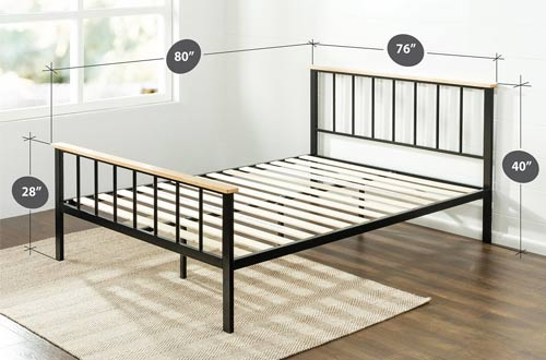 Zinus Contemporary Metal and Wood Platform Bed with Wood Slat Support