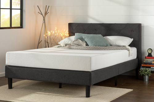 Zinus Upholstered Diamond Stitched Platform Bed with Wooden Slat Support