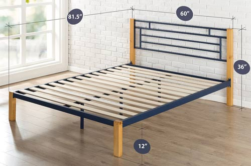 Zinus Epic Metal & Wood Platform Bed with Wood Slat Support