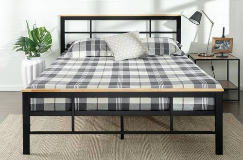 Zinus Urban Metal and Wood Platform Bed with Wood Slat Support