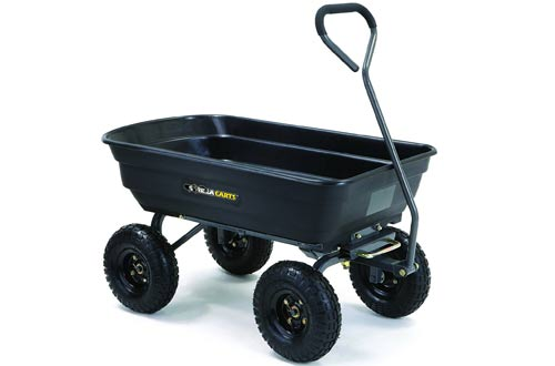 Gorilla Carts Poly Garden Dump Cart with Steel Frame and Pneumatic Tires