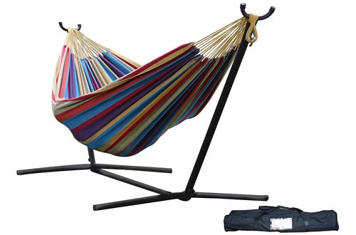 Vivere Double Hammock with Tropical Space-Saving Steel Stand