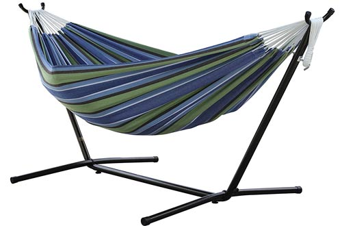 Double Hammock with Space Saving Steel Stand by Vivere