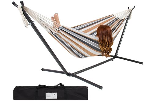 Double Hammock with Space-Saving Portable Steel Stand with Carrying Case