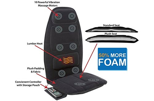 Relaxzen Black Massage Seat Cushion with Heat and Extra Foam