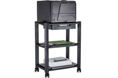 Printer Stand With Wheels And Drawer Rolling Printer Cart Height Adjustable Stacked Mobile Cart