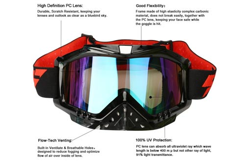 Adult Motorcycle ATV Dirt Bike Off Road Racing Safety Goggles