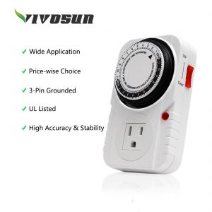 VIVOSUN 1 PACK 24 Hour Plug in Mechanical Timer Switch