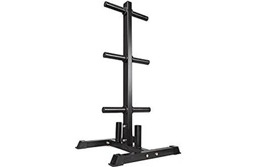 "Titan Fitness Olympic 2"" Weight Plate Rack Tree & Barbell Holder Organizer Stand"