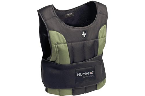 HumanX 20-Pound Weight Vest, One Size, Black/Green