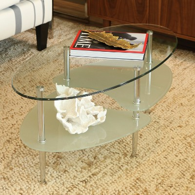 #2 Walker Edison Glass Oval Coffee Table