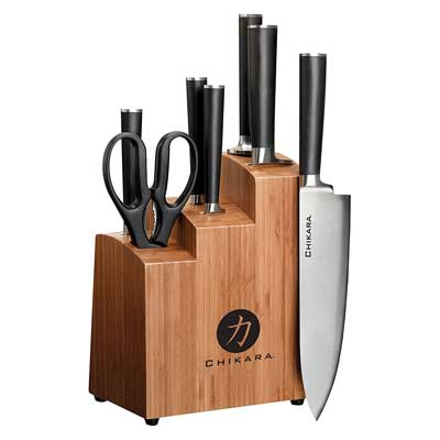 1. Ginsu Gourmet Chikara Series Forged 8-Piece Japanese Steel Knife Set