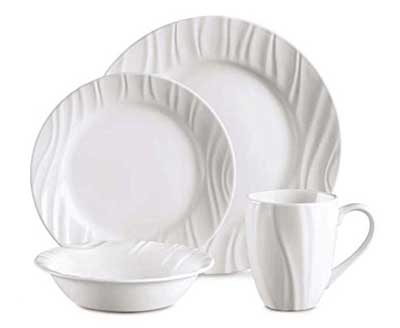 3. Corelle Boutique Swept Embossed 16-pc Dinnerware Set