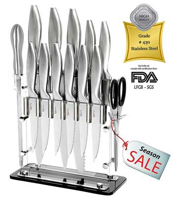 8. Super Sharp! 14 Piece Stainless Steel Kitchen Knife Set