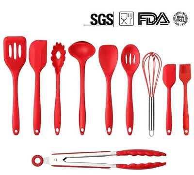 2. Mysj 10-Piece Silicone Kitchen Utensil Set