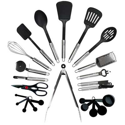 5. Qualikitchen 23-Piece Premium Cooking Kitchen Utensil Set