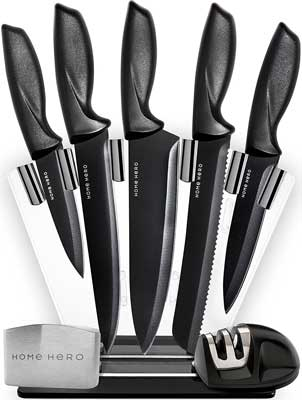 7. HomeHero 5-Piece Stainless Steel Block Kitchen Knife Set