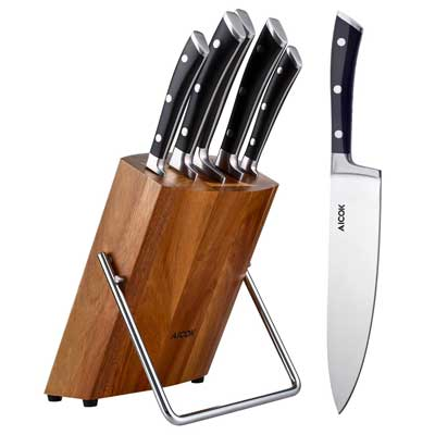4. Aicok Stainless Steel 6-Piece Kitchen Knife Block Set