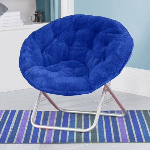 Blue Plush Saucer Moon Chair
