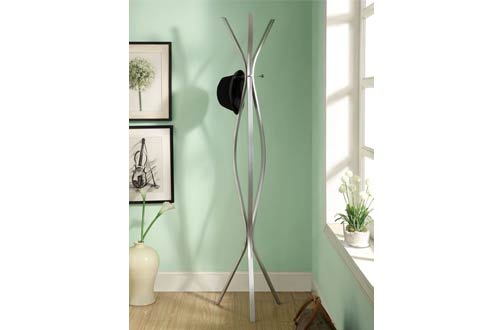 Monarch Specialties Contemporary Silver Metal High Coat Rack