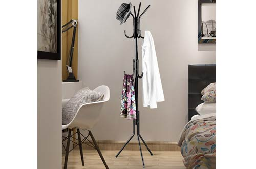 LANGRIA Black Metal Coat Rack for Clothes Scarves and Hats