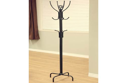 Frenchi Furniture 12-Hook Black Metal Coat Rack