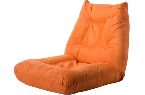 Merax Adjustable Folding Floor Chair – Orange Floor Sofa Chair Cushion