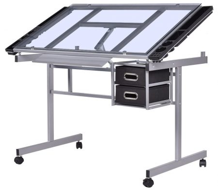 Tangkula Adjustable Drawing Desk Rolling Drafting Table