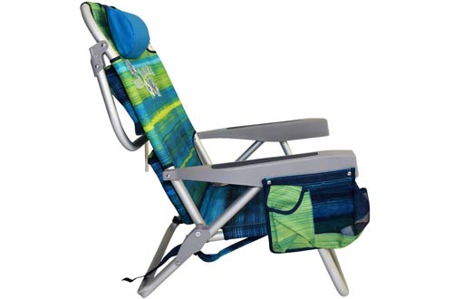 Tommy Bahama Backpack Cooler Chair, Green/Blue Stripes