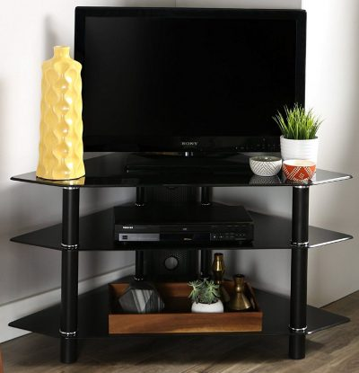"Walker Edison 44"" Glass Corner TV Stands"