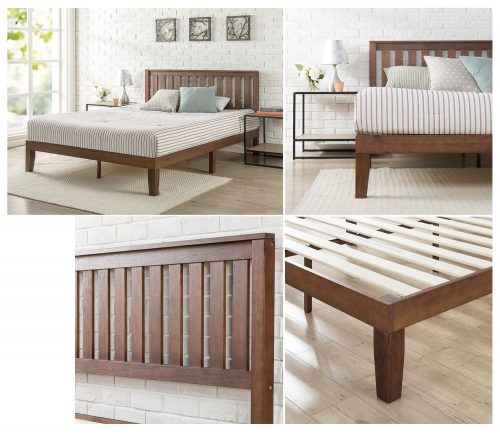 Wood Platform Bed with Headboard