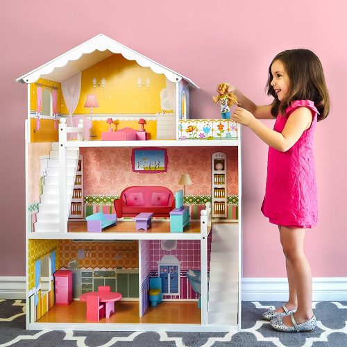 Wooden Dollhouse with Furniture