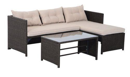 3-Piece Outdoor Rattan Wicker Sofa