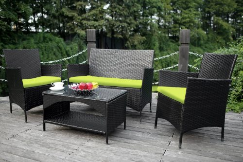 4-piece Outdoor PE Rattan Wicker Sofa