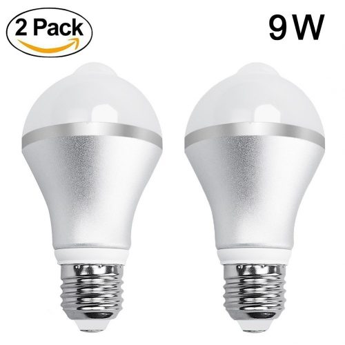 Aukora 9W Motion Activated LED Bulb U2013 Motion Sensor Light Bulb E26/E27 Cold  White Motion Detection Outdoor/Indoor LED Night Light Bulbs For Front Door  ...