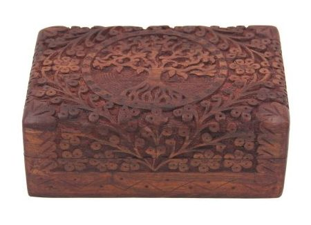 Hand Carved Tree Of Life Wooden Storage Box