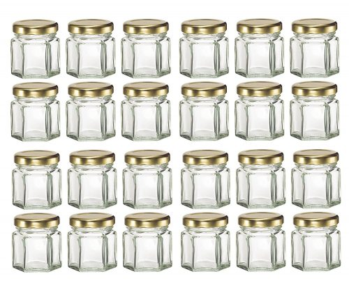 Hexagon Glass Jars with Gold Plastisol Lined Lids
