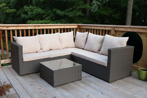 Large 4 Pc Modern Rattan Wiker Sectional Sofa