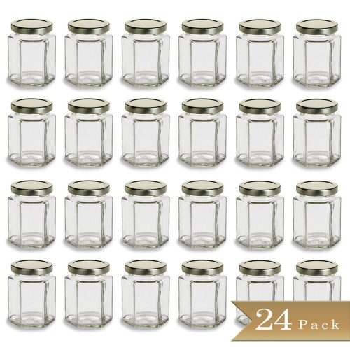 Large 6 oz Hexagon Glass Jars