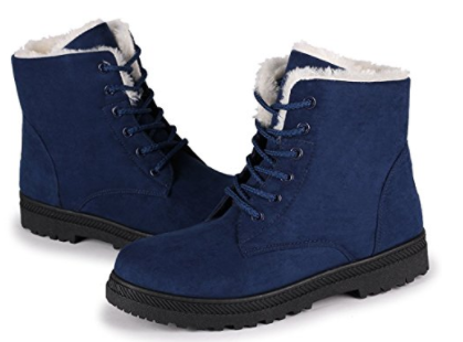 6. Susanny Suede Flat Platform Women's Lace Up Snow Boots