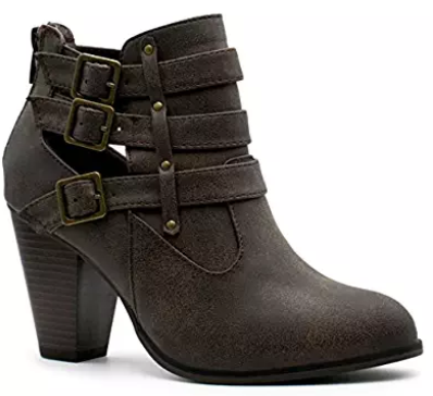 7. Forever Women's Buckle Strap Block Heel Ankle Booties