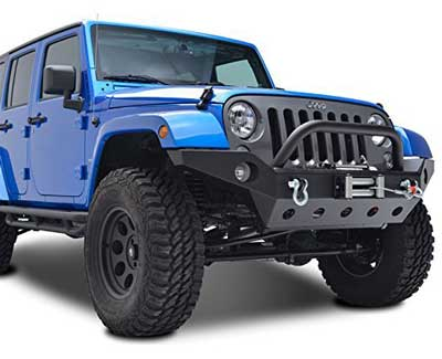 10. EAG Full Width Front Bumper With Fog Lights Hole & Winch Plate
