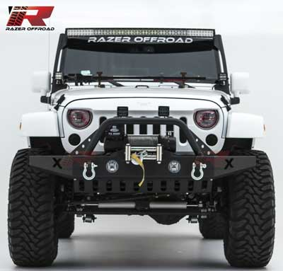 7. Razer Auto Black Textured Rock Crawler Front Bumper