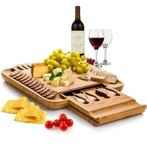 Bamboo Cheese Board & Cutlery Set with Slide-Out Drawer-Bamboo Cheese Boards